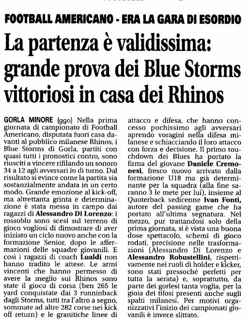 """La Settimana 25 febbraio 2011 - """"La partenza è validissima: grande prova dei Blue Storms vittoriosi in casa dei Rhinos"""""""