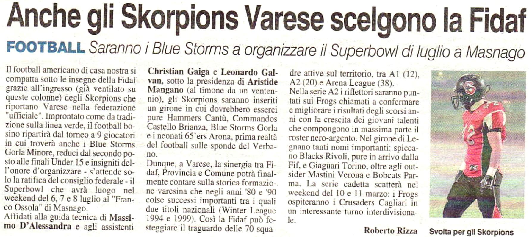 La Prealpina 13 01 2012: Saranno i Blue Storms a organizzare il Superbowl di luglio a Masnago